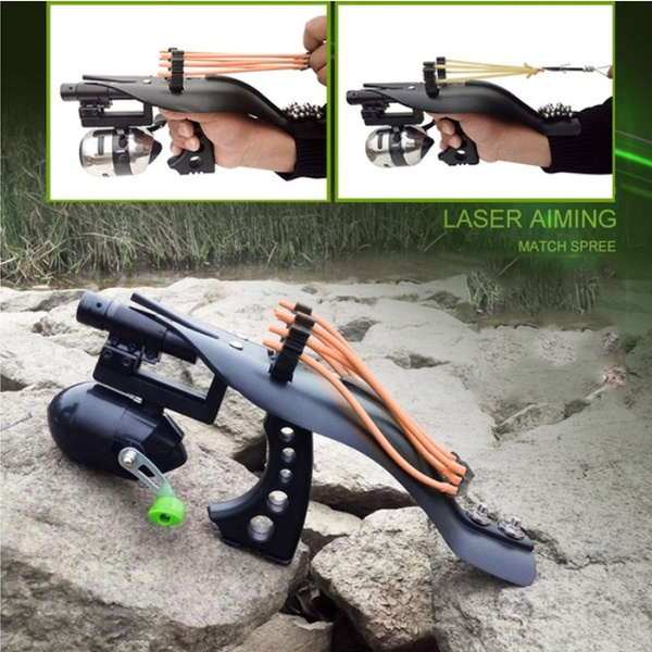 Random Color Fishing Gun Hunting Laser Sighting Slingshot Set Target  Shooting Catapult Ammo Ball Sling Bow Reel Tool Fish Gun Shooting (Full