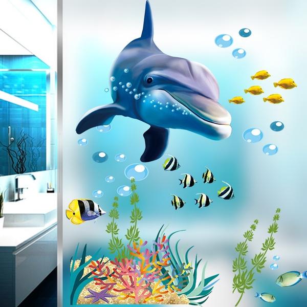 Bathroom Kitchen Wall Sticker Home Decor Stickers Dolphin Fish Aquarium Ocean Decorative Decal Mural Cartoon Wallpaper