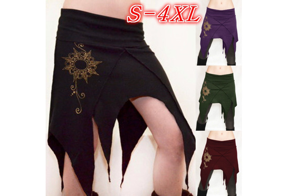 Plus Size Irregular Print Mini Skirt Vintage Pixie Short Dress Cosplay Costume