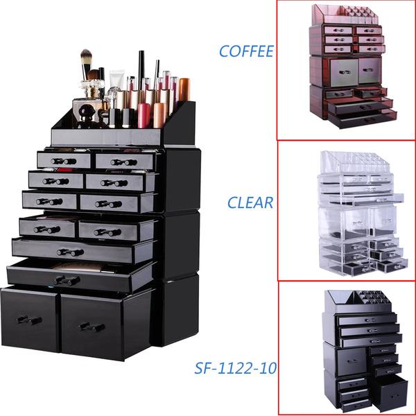 Makeup Cosmetics Jewelry Organizer Acrylic Display Box Storage W Drawers Wish