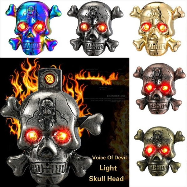 Skull Head Horror Sound USB LED Flash Rechargeable Electric Smoke Lighter
