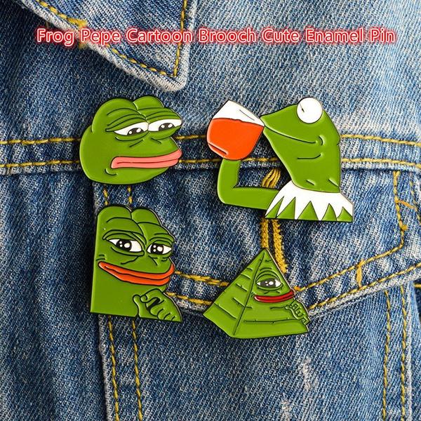 Weird Funny Sad Pepe The Frog Lapel Pin Frog Pepe Cartoon Brooch Cute  Enamel Pin