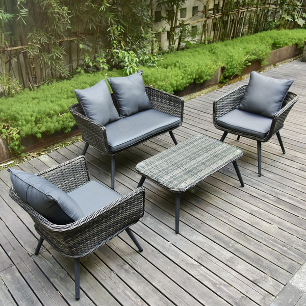 Phenomenal Pamapic 4 Piece Outdoor Patio Wicker Furniture Sets With Cushions Unique Design With Round Rattan Pe Rattan Outdoor Sectional Sofa Table With Cjindustries Chair Design For Home Cjindustriesco