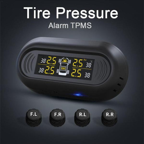 Mini Windshield Wireless Digital Gauge Car TPMS Solar Power Tire Pressure  Monitoring System