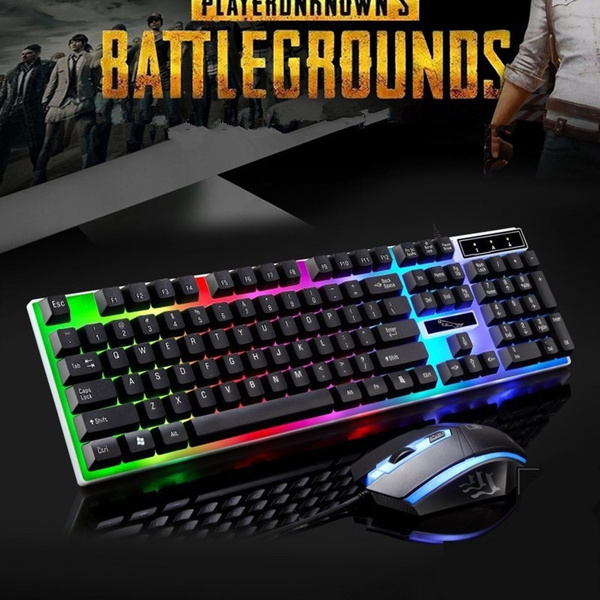 LED Rainbow Color Backlight Adjustable Gaming USB Wired Keyboard With Mouse Kit
