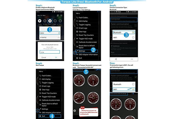 Panlong Bluetooth OBD2 OBDII Car Diagnostic Scanner Check Engine Light for An...