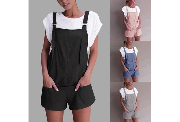 Women Elastic Waist Dungarees Linen Cotton Pockets Rompers Playsuit Shorts Pants