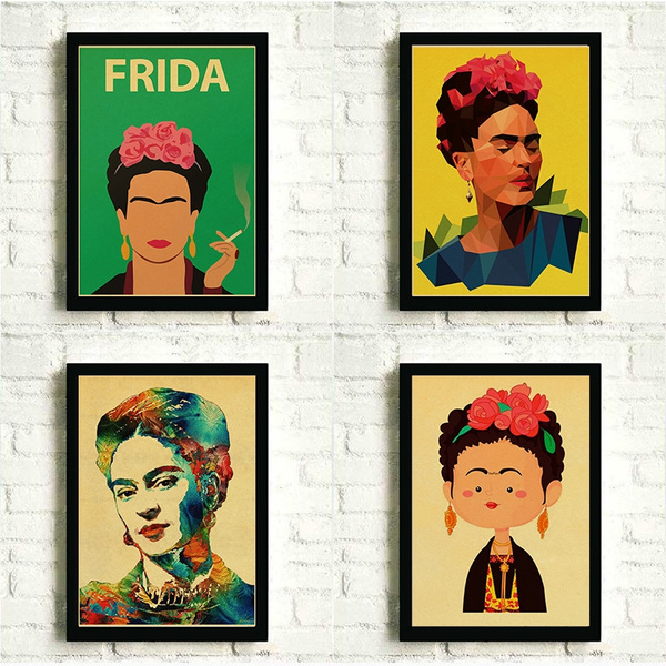 Retro Style Frida Kahlo Posters Wall Art Print Painting Poster Kraft Paper Printed Decoration