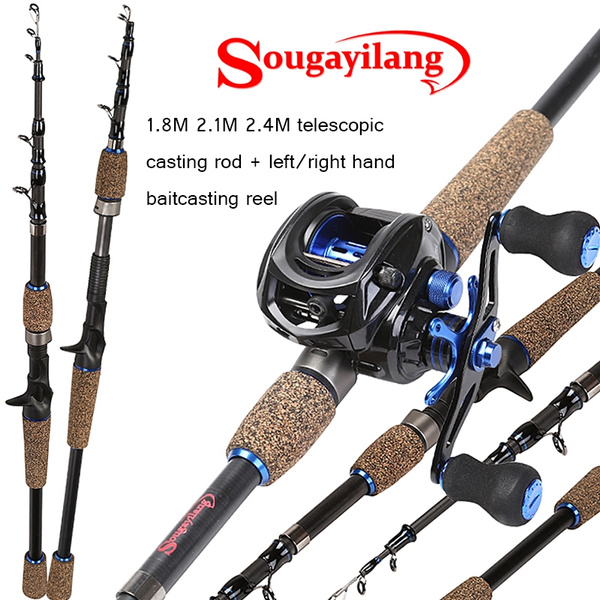 Sougayilang Casting Fishing Rod Reel Combos with 1 8M/2 1M/2 4M Carbon  Telescopic Casting Rod and 9BB 7 0:1 Baitcasting Reel for Travel Freshwater