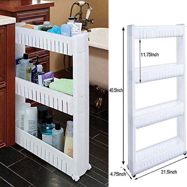 Slim Rolling Cart Slide Out Storage Tower Narrow Pull Rack With 4 Wheels Solutions For Es Kitchen