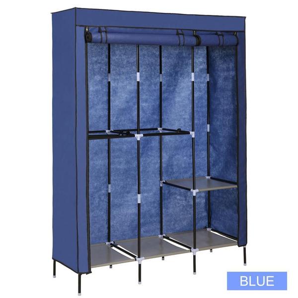 Wish   Portable Clothes Closet Wardrobe Double Rod Closet Storage Organizer  Shipping Europe