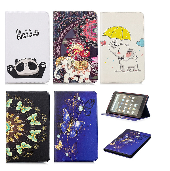 2018 Newest Fashion Elephant Butterfly Panda Printed Pattern Flip Smart  Kindle Case For Amazon Kindle Fire HD8 (2016) / Amazon Kindle Fire HD8  (2017)