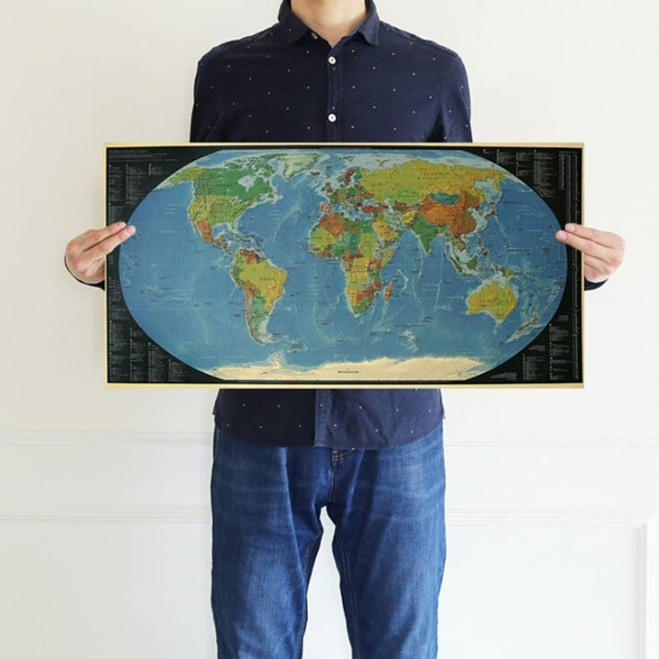 World Map Kraft Paper Art Craft Map Wall Decor Bar Cafe Wallpaper Room Poster