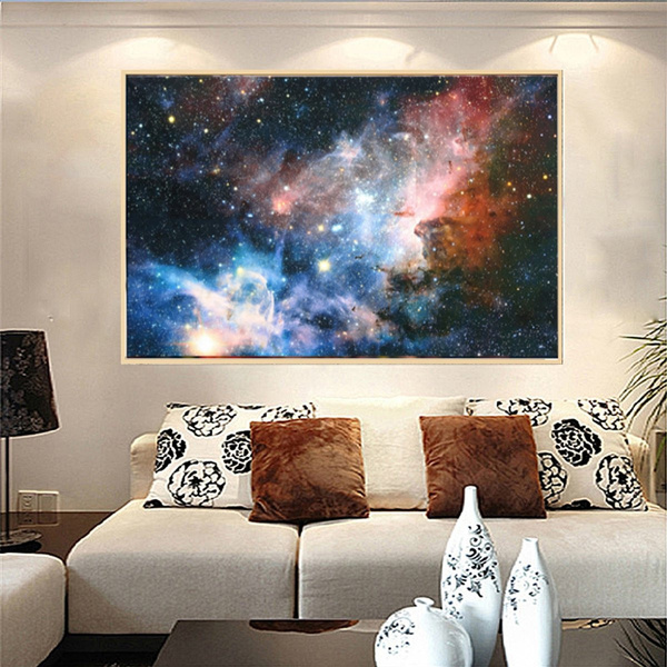43x24inch Unframed Wall Painting Picture Space Galaxy Universe Planet Poster Fabric Silk Wall Print Art Home Decoration