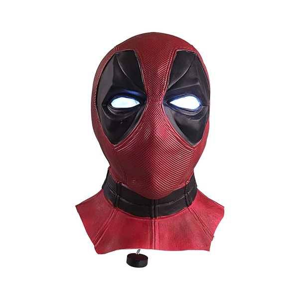 Deluxe Adult Deadpool Mask Balaclava Halloween Hood Cosplay Latex Mask With LED