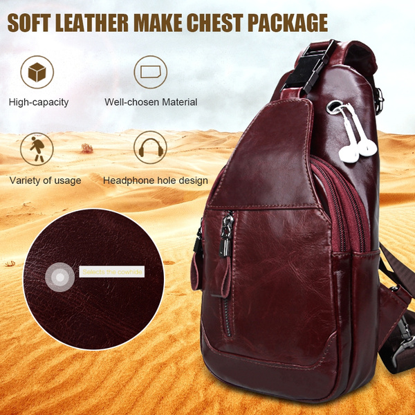 053ccebe0077 Men's Sling Bag Genuine Leather Chest Shoulder Backpack Cross Body Purse  Water Resistant Anti Theft For Travel Hiking School Business Outdoor