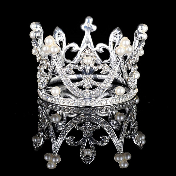 Mini Crown Tiara Headpiece Wedding Party Bridal Crystal Rhinestones Headband