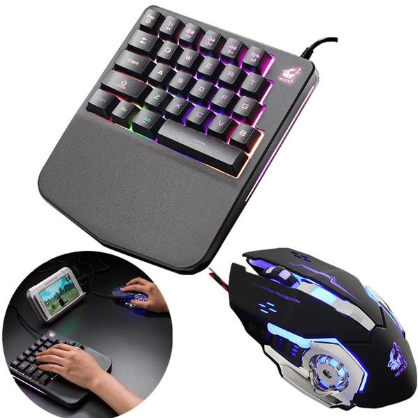 K11 Wired 28 Keys Ergonomic Single Hand Keypad LED Backlit USB Gaming Keyboard
