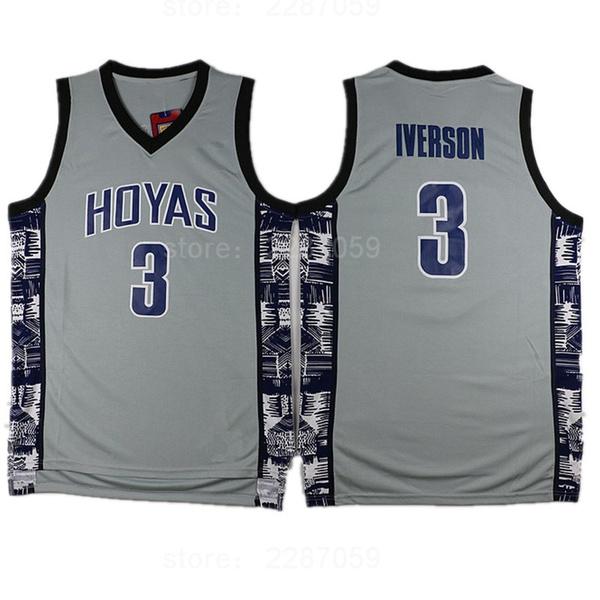 1c182525e285 Ediwallen College 3 Allen Iverson Jersey Men Sale Sports Georgetown ...