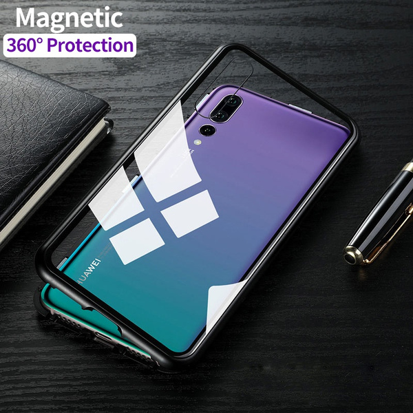 the best attitude 0a079 d0681 Magnetic Adsorption For Huawei P20 Pro Case 9H Tempered Glass + Built-in  Magnet Case for For Huawei P20 Metal Ultra Cover