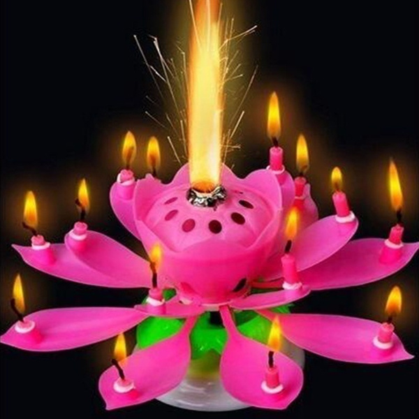 Wish Rotating Happy Birthday Party Candle Singing Double Layer