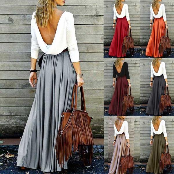 Pastels, long skirt, Plus Size, high waist