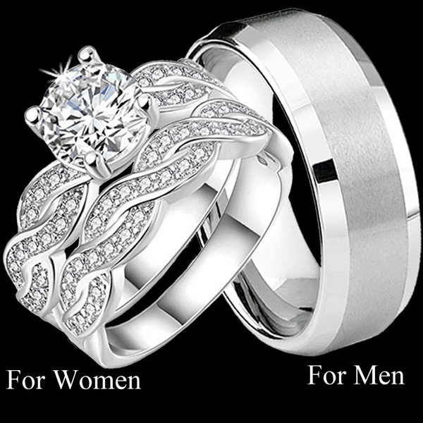 8b2a06719be4fc TWO RINGS) Couple Rings His & Hers Matching Womens CZ Bridal Ring ...