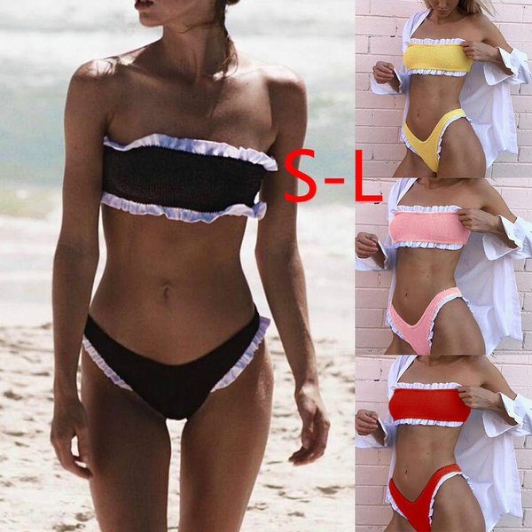 4522c41993d S-L Women Two Piece Off Shoulder Ruffled Flounce Crop Bikini Top ...