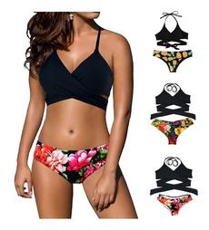 two piece swimsuit, bikini set, Halter, padded bikini