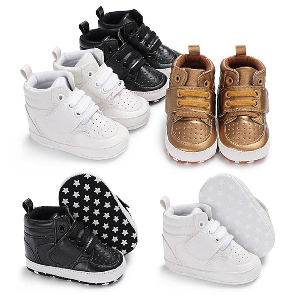 High Top Sneakers Baby Boys Shoes Newborn Infant Solid Pu Soft Sole No-Slip First Walker Toddler Crib Shoe