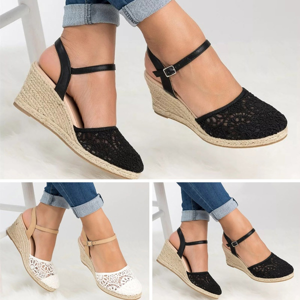 Womens Ladies High Heel Ankle Strap Casual Espadrilles Platform Wedge Sandals