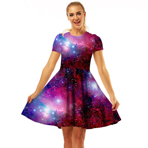 New Women Summer Dress 3d Galaxy Space Printed Mini Dress High Waist Short  Sleeve Dress Plus Size