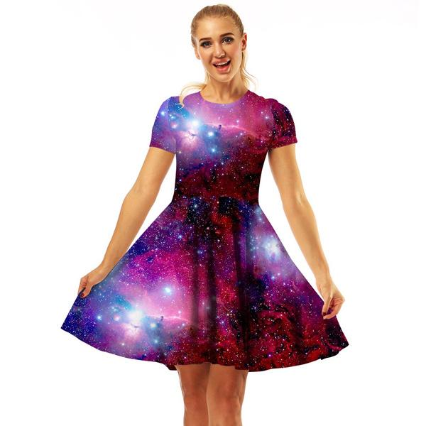 New Women Summer Dress 3d Galaxy Space Printed Mini Dress High Waist Short  Sleeve Dress Plus Size