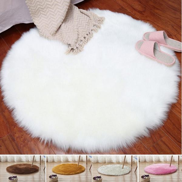 Magnificent Stylish Soft Faux Fur Rug Home Office Warm Mat Sofa Chair Desk Pad Round Carpet Creativecarmelina Interior Chair Design Creativecarmelinacom