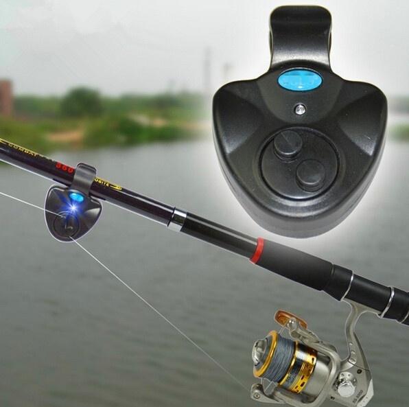 Electronic LED Light Black Sound-light Alarm Bell Clip On Fishing Rod Fish Bite