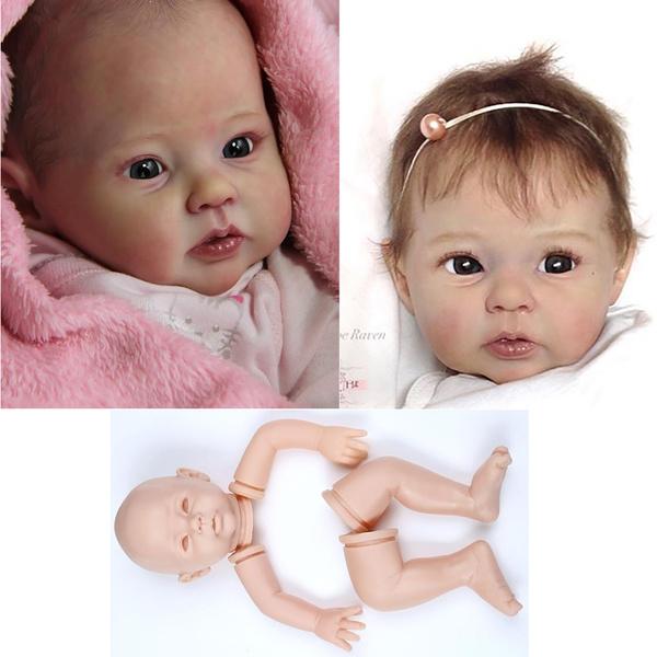Newborn Doll Kit Reborn Dolls Kits Supplies soft vinyl Head 3//4 Limbs 20/'/' HOT