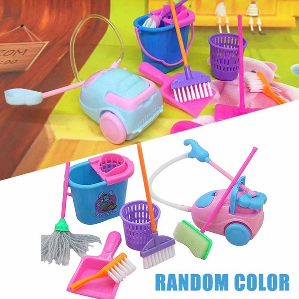 Funny 9pcs Children Kids Cleaning Sweeping Mop Broom Brush Dustpan Toy  Playset