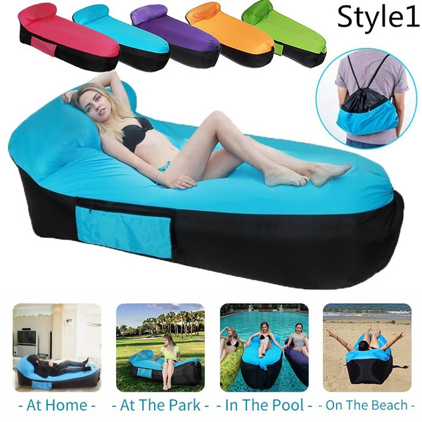 Magnificent Inflatable Lounger Air Couch Cooler Sofa Air Mattress Camping Chair Portable Airbed With Carry Bag For Backyard Lakeside Beach Traveling Picnics Bralicious Painted Fabric Chair Ideas Braliciousco