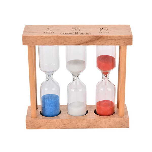 Wish   1/3/5Min Wood Frame Glass Sand Sandglass Hourglass Timer ...