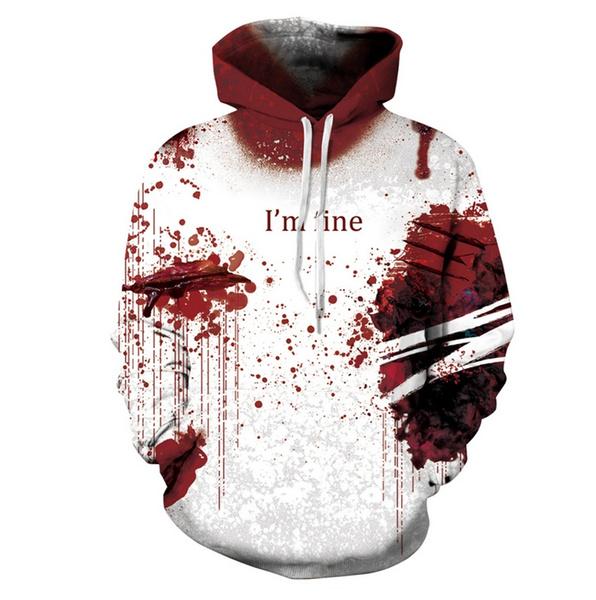 closer at new specials large discount Halloween Blood Hoodies Sweatshirts Women Men I'M FINE Letter ...