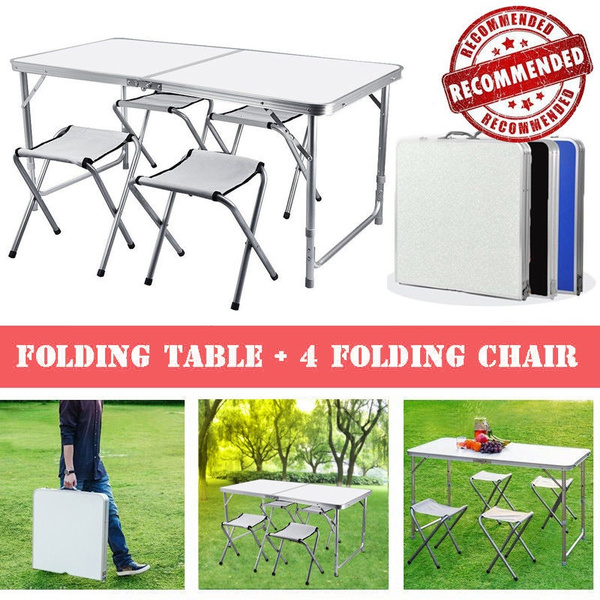 Pleasant Aluminium Folding Portable Picnic Outdoor Camping Set Table 4 Chairs For Picnic Camping Bbq Party Table Chair Download Free Architecture Designs Scobabritishbridgeorg