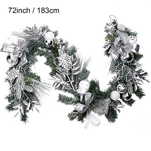 Valery Madelyn Pre Lit 72 Inch 6feet Frozen Winter Silver White Christmas Garland With Shatterproof Ball Ornaments And Accessories Battery Operated