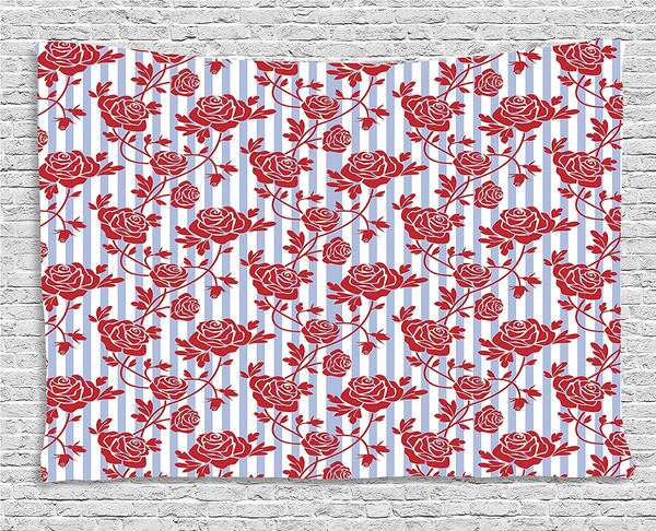 Wish | Modern Decor Tapestry, Rose Ivy Romantic with Stipes Leaves ...