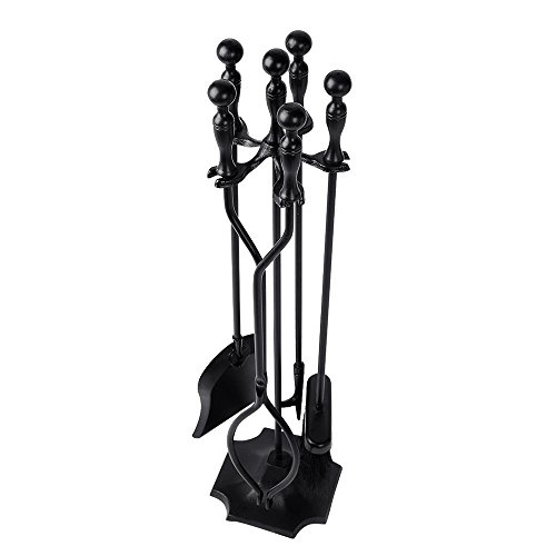 5 PCS Black Iron Fire Fireplace Tool Set Stand Hearth Poker Shovel Tong Brush