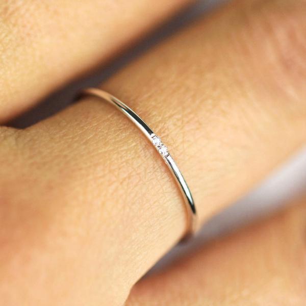 1mm Fashion Simple Diamond Ring Wedding Ring Engagement Ring Women S