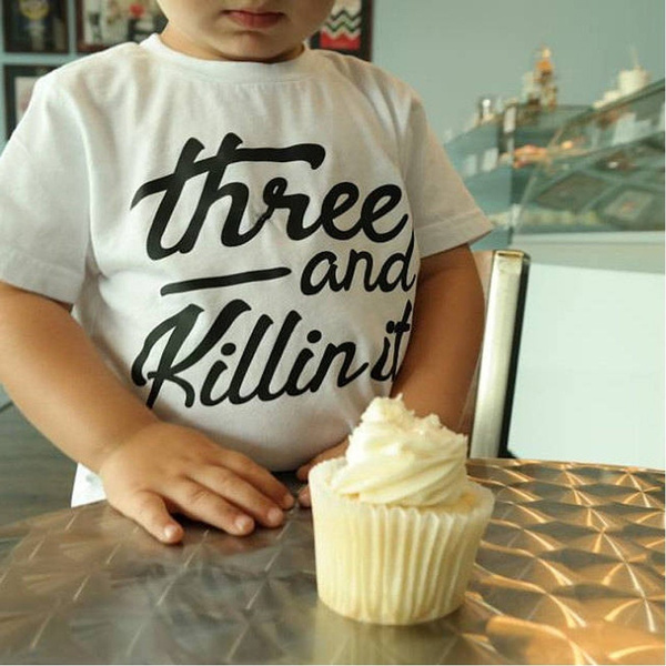 Three Year Old Birthday Shirt Boy 3 Kids Girl 0 10 Y Cotton Clothes Tops
