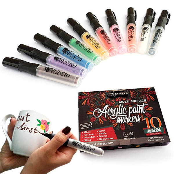 1pcs Paint Pens For Rock Painting Ceramic Porcelain Glass Wood Fabric Canvas 10 Permanent Acrylic Paint Markers Medium Point Tip