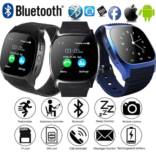 2018 Bluetooth Smart Watch Smart Bracelet With Remote Camera Support SIM TF  Card Call Reminder Waterproof Smartwatch