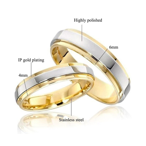 Wish 2018 New Luxury 18k Gold Wedding Rings Simple Design Couple