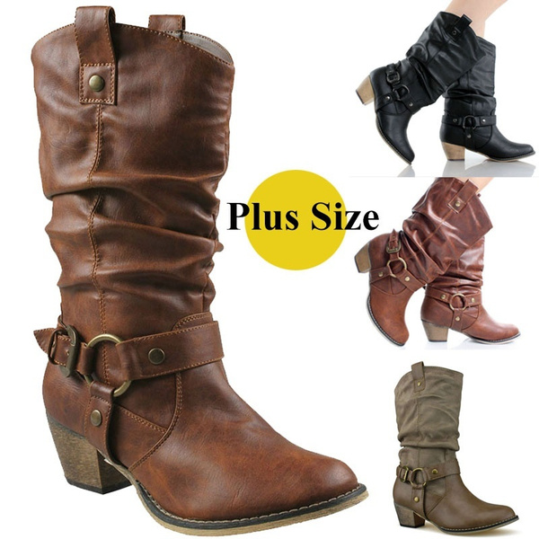 17eef113524 Autumn Winter Women's Hansel Buckle Thick High Heel Riding Boots Female  Cowboy Cowgirl Boots Ladies Belt Buckle Strappy Boots Mid Calf Leather  Boots ...